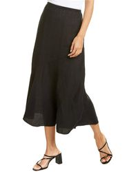 Eileen Fisher Handkerchief Flared Linen Midi Skirt - Black
