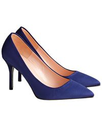 J.Crew Elsie Court Shoes In Satin With Glitter Sole - Blue