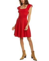 Three Dots Flutter Heritage Knit Mini Dress - Red