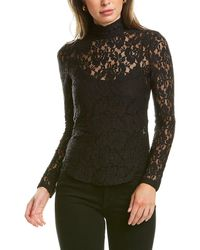 French Connection Lace Jersey High Neck Top - Black