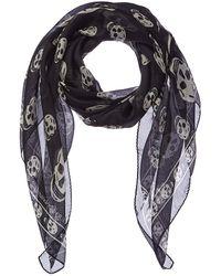 Alexander McQueen Skull Silk-blend Scarf - Multicolour