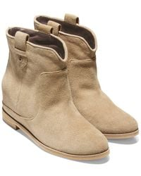 Cole Haan Rayna Suede Wedge Bootie - Natural