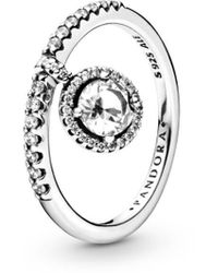 PANDORA Jewellery Timeless Elegance Silver Cz Round Dangle Sparkling Ring - Metallic