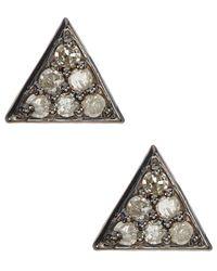 Adornia - Fine Silver 0.12 Ct. Tw. Diamond Studs - Lyst