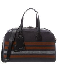 Burberry Striped Wool & Leather Duffel Bag - Black