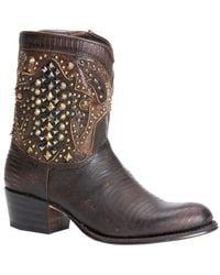 Frye Deborah Deco Short Leather Boot - Brown