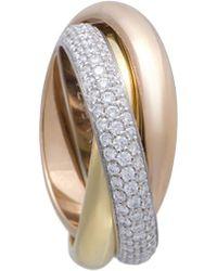 Cartier - Cartier 18k Tri-color 0.99 Ct. Tw. Diamond Ring - Lyst