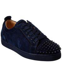 Christian Louboutin Louis Junior Spikes Suede Sneaker - Blue