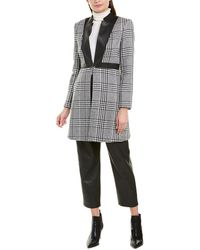 BCBGMAXAZRIA Plaid Coat - Black