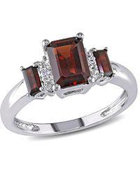 Rina Limor 10k 1.57 Ct. Tw. Diamond & Garnet Ring - Metallic