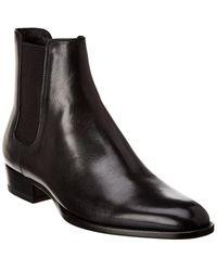 Saint Laurent Wyatt 30 Leather Chelsea Boot - Black