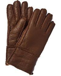 Surell Accessories Pieced Leather Gloves - Brown