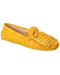 Tod's Tod?s Gommini Studded Suede Loafer - Yellow