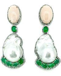 Arthur Marder Fine Jewelry 14k & Silver 5.49 Ct. Tw. Diamond, Emerald, & 25-19mm Pearl Drop Earrings - Green