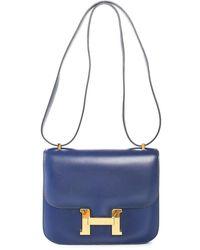 Hermès Blue Box Calf Leather Constance 25
