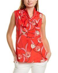 St. John Stretch Silk-blend Top - Red