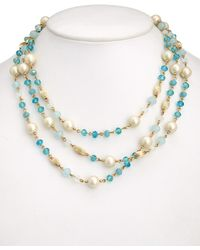 Carolee - Glass Pearl & Acrylic 60in Necklace - Lyst