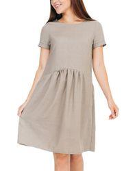 Bessa Linen-blend Dress - Brown