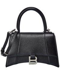 Balenciaga Hourglass Small Leather Top Handle Shoulder Bag - Black