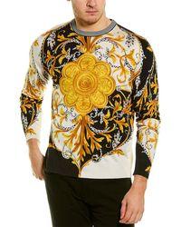 Versace Barocco Acanthus Print Silk Sweater - Multicolor