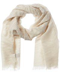 Badgley Mischka Product Template Dnu Metallic Herringbone Wool-blend Scarf - White