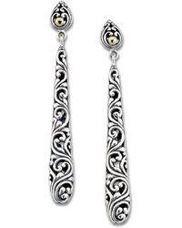 Samuel B. Jewellery 18k & Sterling Silver Balinese Scrollwork Drop Earrings - Metallic