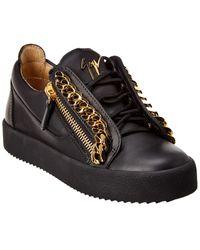 Giuseppe Zanotti Frankie Chain Leather Sneaker - Black