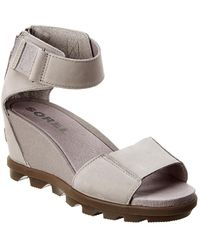Sorel Joanie Ii Ankle Strap Leather Wedge - Gray