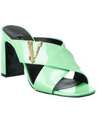 Versace Virtus Naplak Leather Sandal - Green