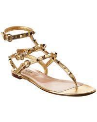 Valentino Rockstud Caged Leather Ankle Strap Sandal - Metallic