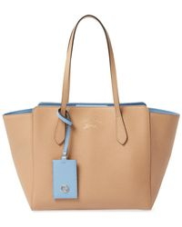 Gucci Beige Leather Swing Tote - Natural