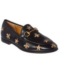 Gucci Jordaan Embroidered Leather Loafers - Black