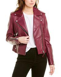 Mackage Classic Leather Moto Jacket - Purple