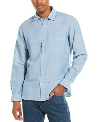 Brooks Brothers Traditional Fit Linen-blend Woven Shirt - Blue