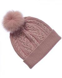 Sofia Cashmere Cashmere Pearl Hat - Pink