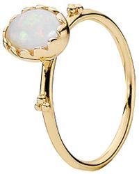 PANDORA Soft Sweetness 14k White Opal Ring - Metallic