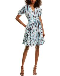 Diane von Furstenberg Indra Cotton Poplin Mini Wrap Dress - Blue