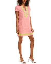Sail To Sable Classic Tunic Linen Shift Dress - Pink