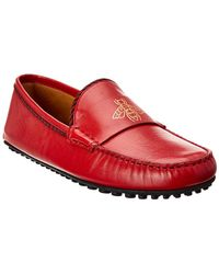 Gucci Bee Leather Driver - Red