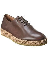 Ferragamo Leather Espadrille Oxford - Brown