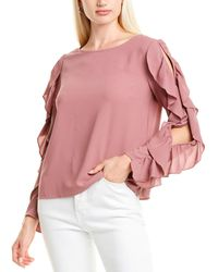 1.STATE Slit Ruffle Top - Pink
