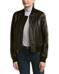 Vince Leather Bomber Jacket - Black