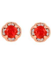 Le Vian ? 14k Rose Gold 0.26 Ct. Tw. Diamond & Fire Opal Studs - Red