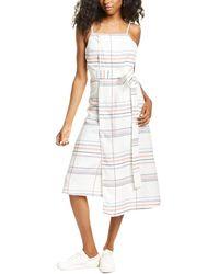 Habitual Wren Tank Linen-blend Wrap Dress - White