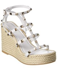 Valentino Rockstud Caged Leather Wedge Sandal - White
