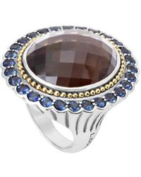 Lagos Statement Rings 18k & Silver 3.30 Ct. Tw. Sapphire & Smokey Quartz Ring - Metallic