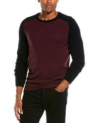 Autumn Cashmere Contrast Piping Cashmere Crewneck Sweater - Purple