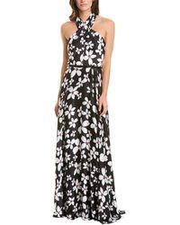 THEIA Floral-print Charmeuse Crisscross Halter Gown - Black