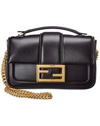 Fendi Baguette Mini Leather Shoulder Bag - Black