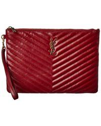 Saint Laurent Monogram Matelasse Leather Tablet Pouch - Red